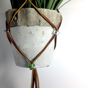 hanging planter leather