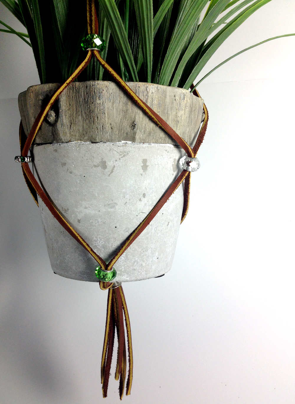 Plant hanger hanging planter brown leather glass beads metal beads flowerups - Metal hanging planter ...