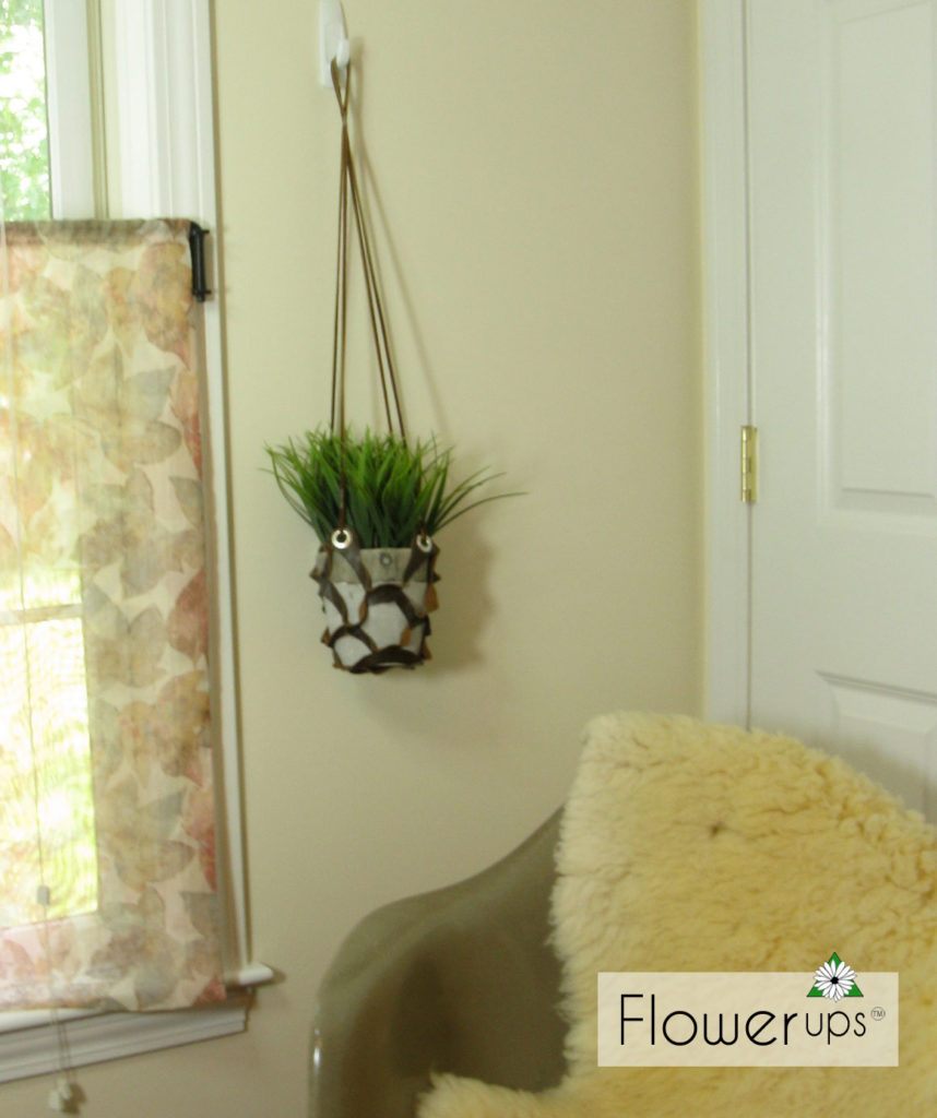 Diy Hanging Planter Cut Leather And Grommets Flowerups