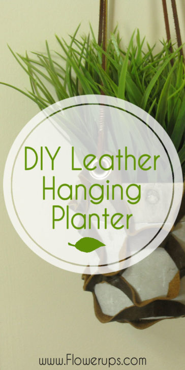 DIY Leather hanging planter. Indoor gardening