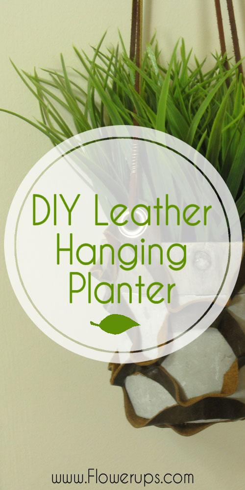 DIY Leather hanging planter. Indoor gardening