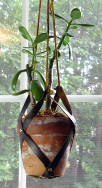 DIY Leather Hanging Planter