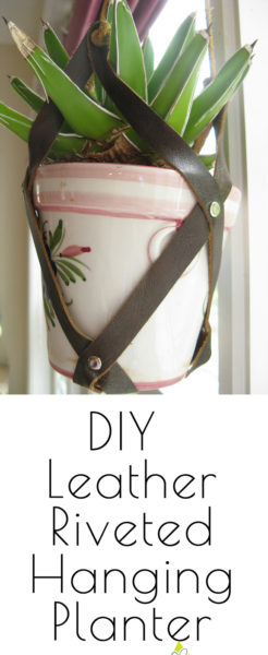diy hanging planter leather