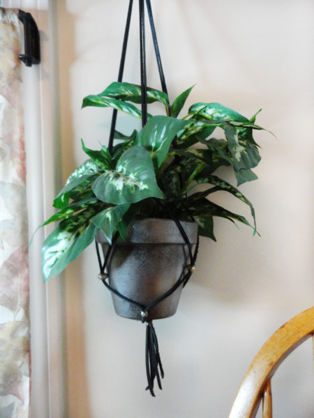 hanging planter with diy silver flower pots