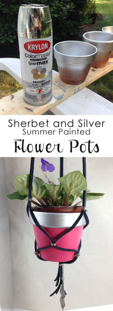 Hanging planters - painted flower pots