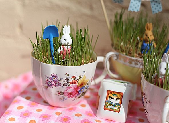 Easter grass teacup container garden