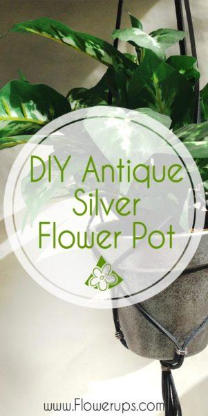 antiqued silver flower pot
